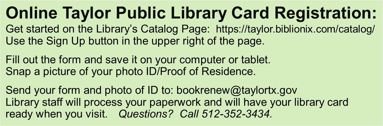 Library Card Online Registration