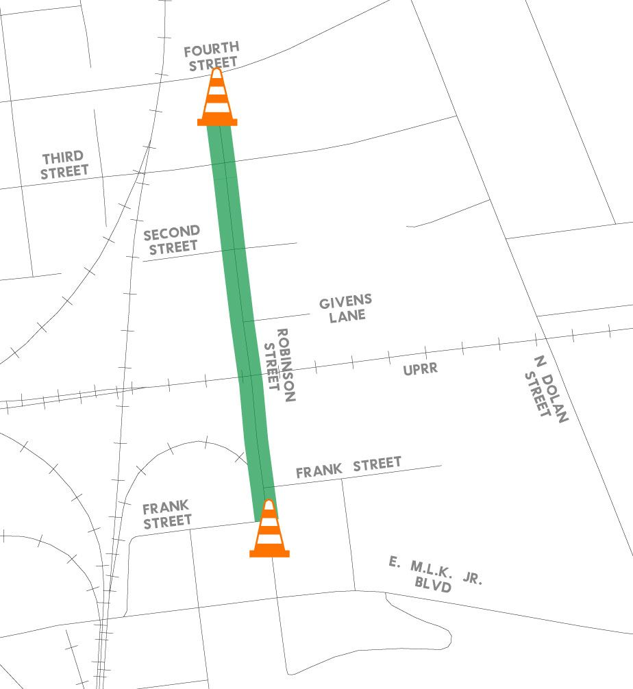 Robinson Street Reconstruction Road Closure Map