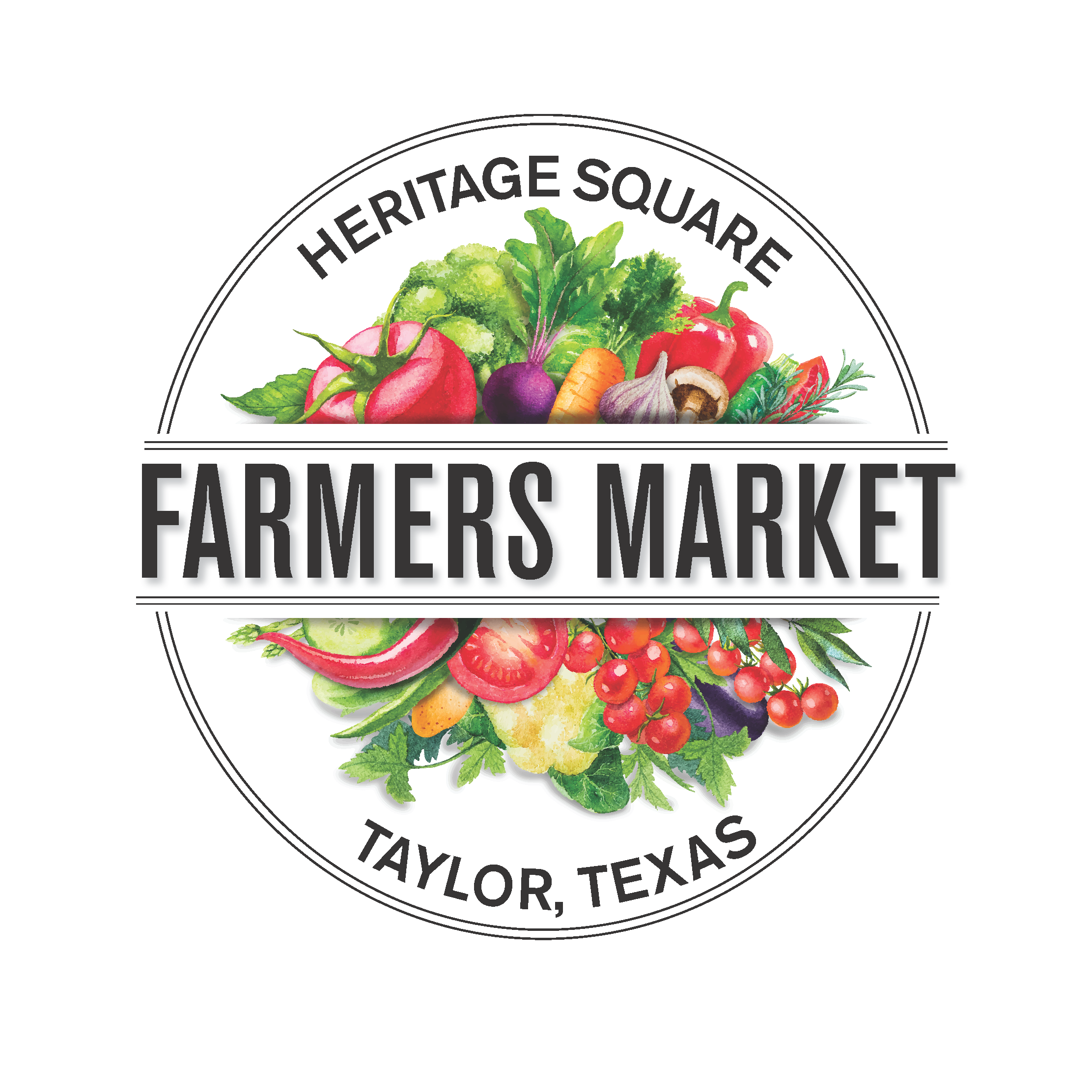Heritage Square Farmers Market Logo with fruits and vegetables