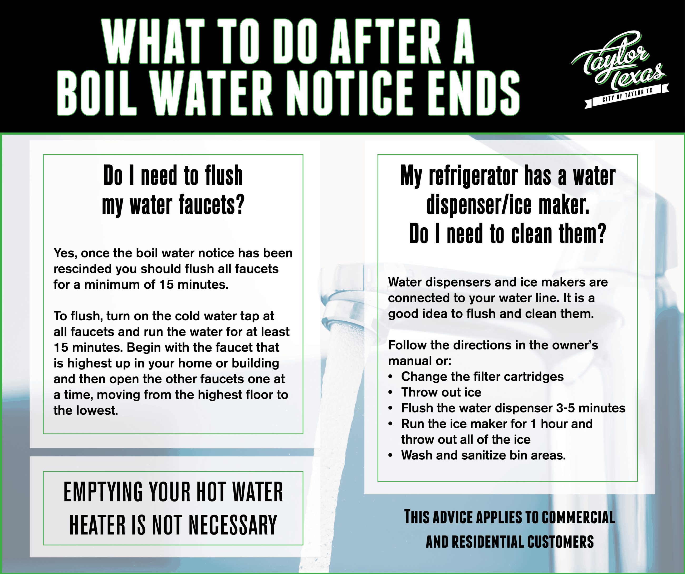 Tips for what to do after a boil water notice ends