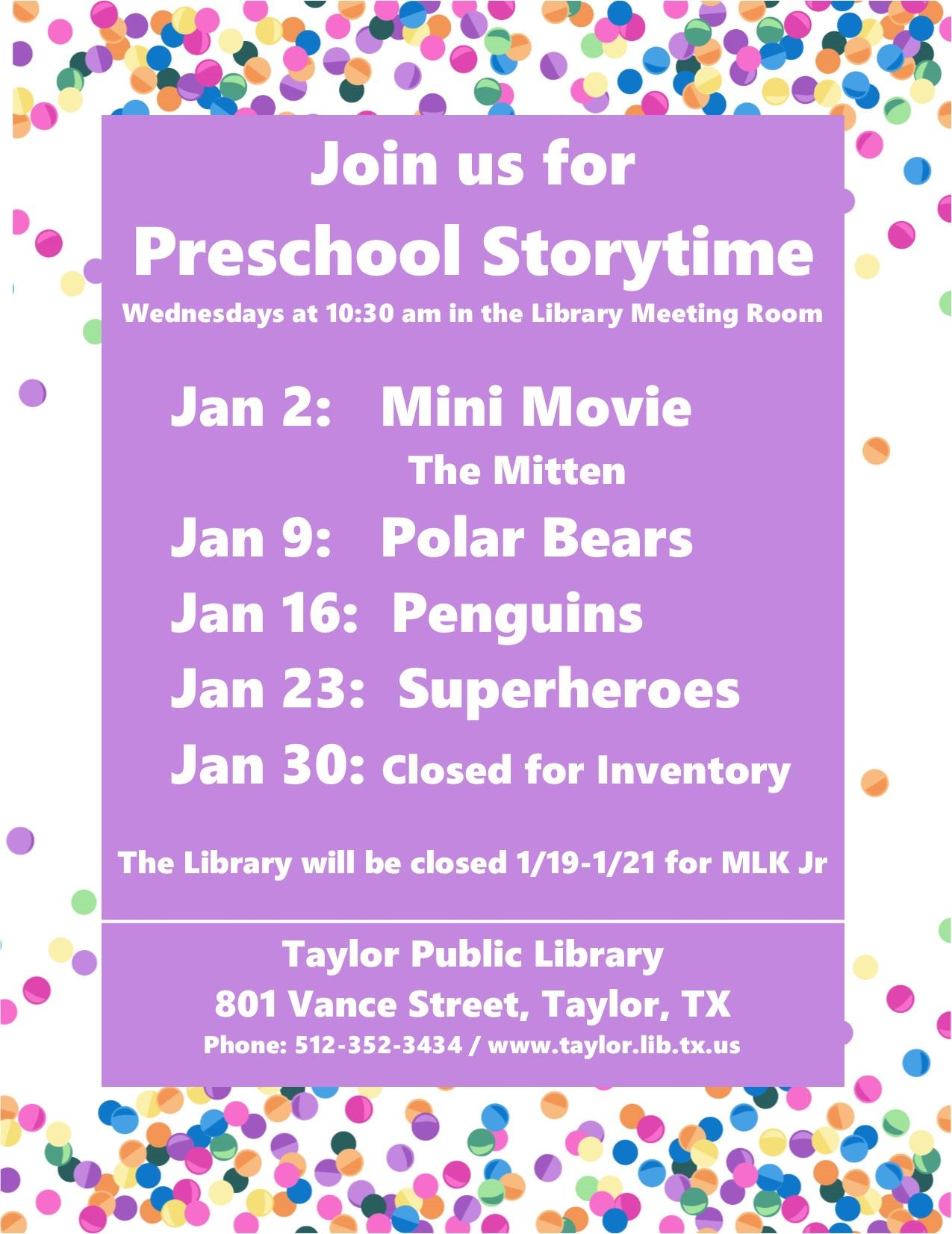 January Storytime Sign