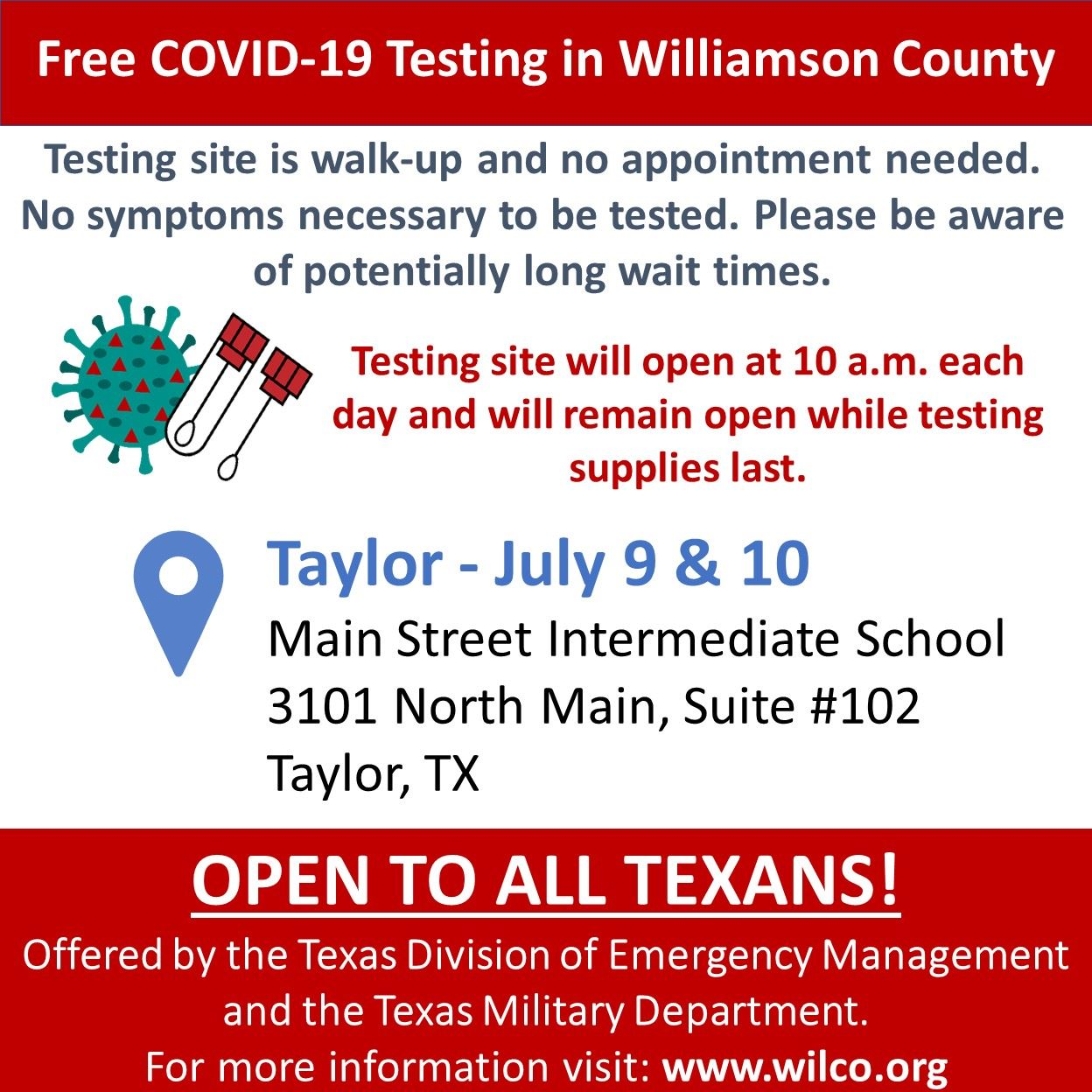 COVID-19 Testing in Taylor July 9 & 10 Opens in new window