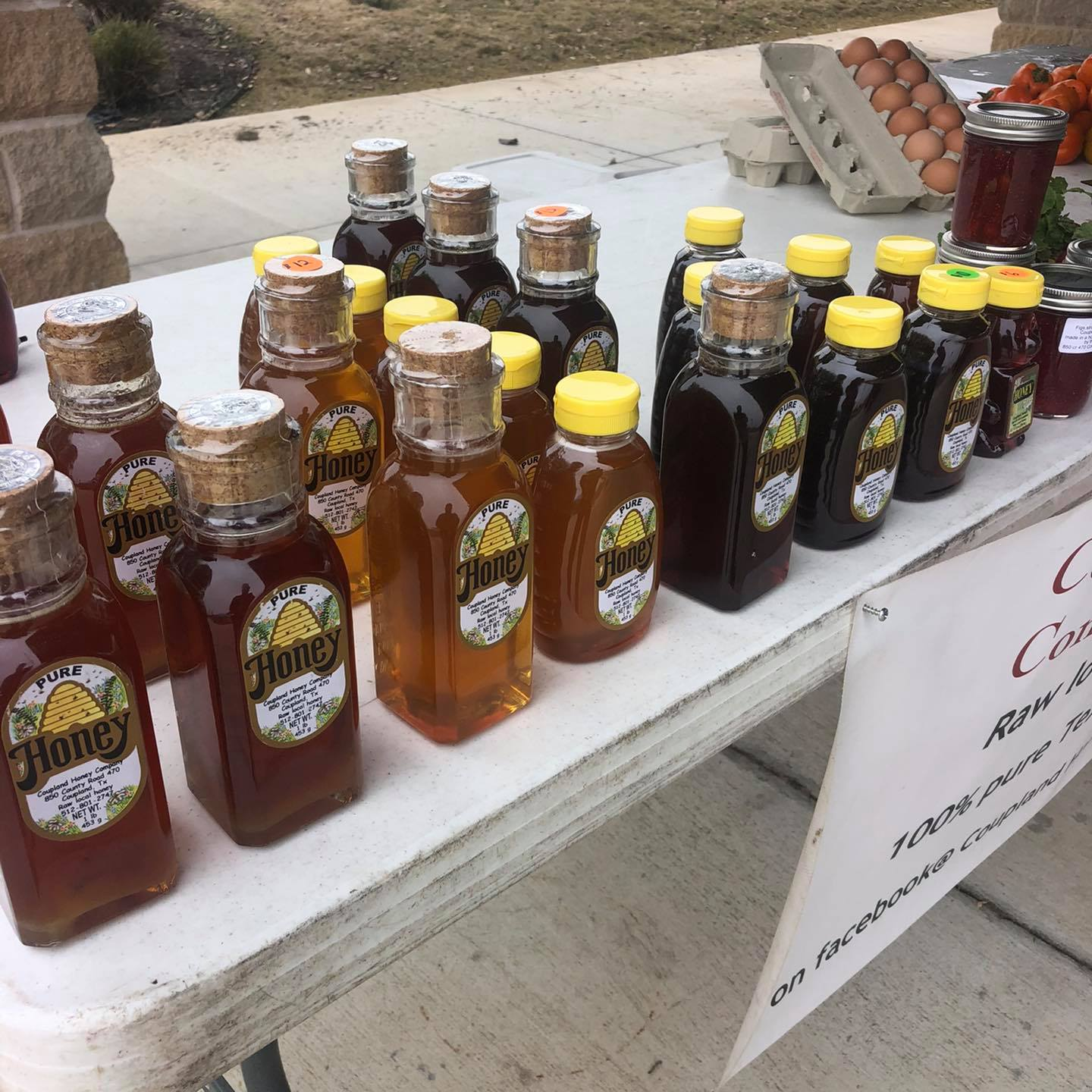 Coupland Honey Company display of honey