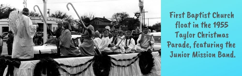 First Baptist Church float in the 1955 Taylor Christmas Parade